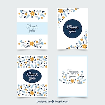 Pack of vintage floral thank you cards Premium Vector