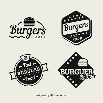 Pack of vintage hamburger restaurant stickers