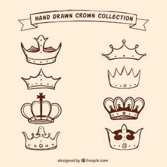 Pack of vintage hand drawn crowns