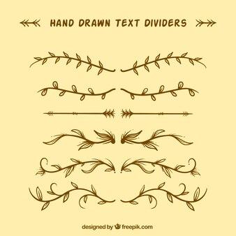 Pack of vintage hand drawn gilt dividers