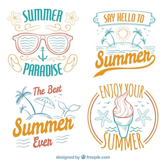 Pack of vintage hand-drawn summer stickers
