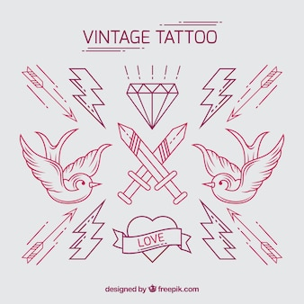 Pack of vintage hand drawn tattoos