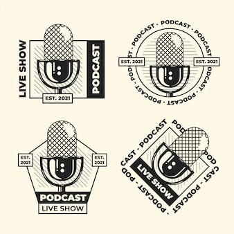 Pack of vintage podcast logos