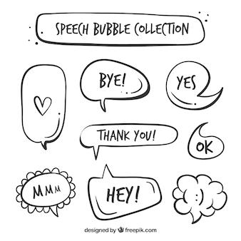 Pacchetto di bolle di discorso vintage con le parole