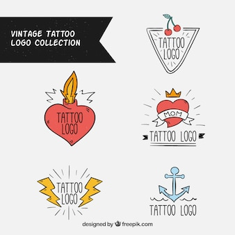 Pack of vintage tattoo logos