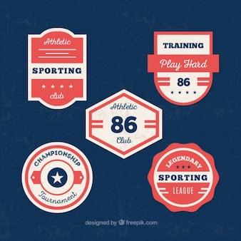 Confezione di badge d'epoca universitari athletic club