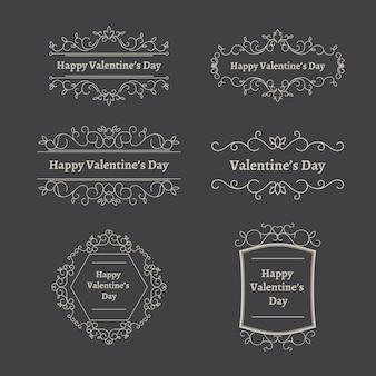 Pack of vintage valentine's day labels