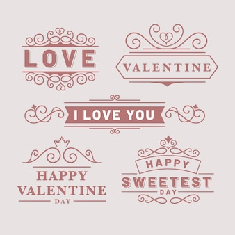 Pack of vintage valentine's day labels