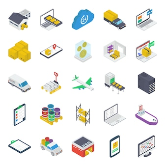 Pack of warehouse isometric icons