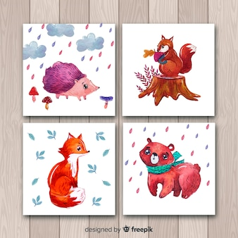 Pack of watercolor autumn cards
