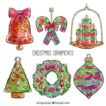 Pack of watercolor baubles and christmas ornaments