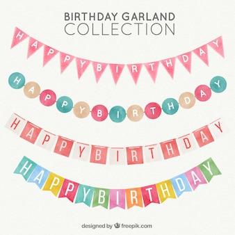 Pack watercolor birthday garlands