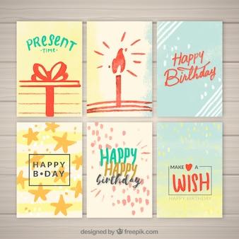 Pacco di auguri di compleanno di acquerello
