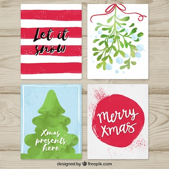 Pack of watercolor christmas cards Free Vector