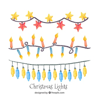 Pack of watercolor christmas lights