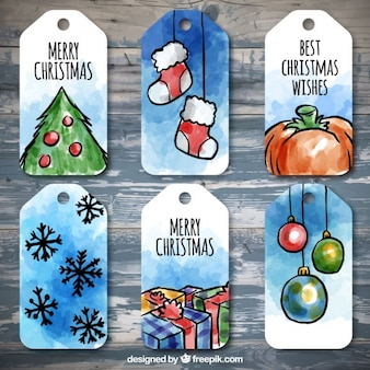Pack of watercolor christmas tags