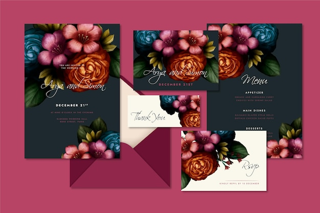 Pack of watercolor dramatic botanical wedding stationery