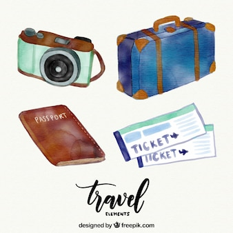 Pack of watercolor elements useful to travel