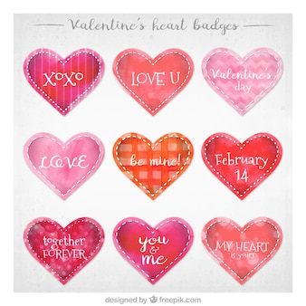 Pack of watercolor hearts stickers with messages