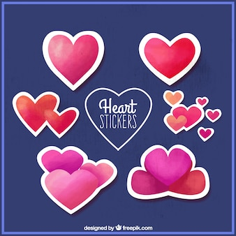 Pack of watercolor hearts stickers