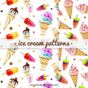 Pack of watercolor ice cream patterns