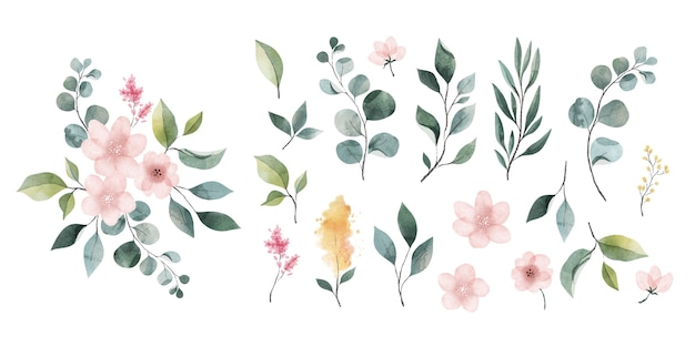 Pack of watercolor leaves and flowers