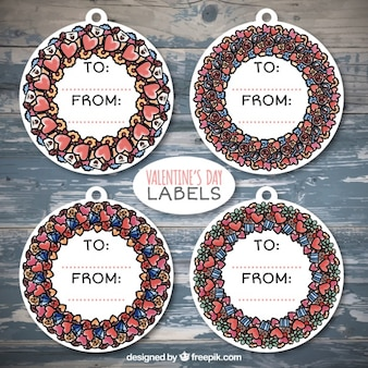 Pack of watercolor love floral wreath stickers