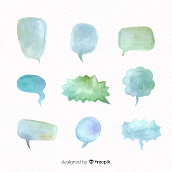 Pack of watercolor speech balloons with different shapes