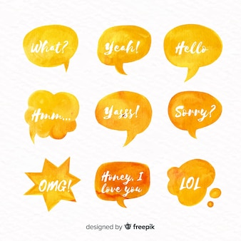 Pack of watercolor speech bubbles with different expressions