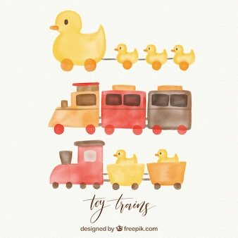 Pack of watercolor trains with ducklings