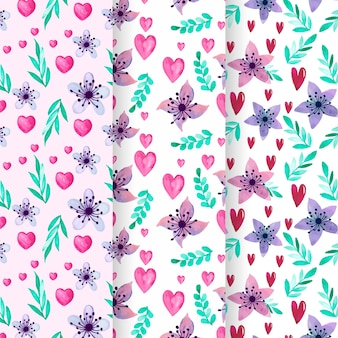 Pack of watercolor valentine's day pattern