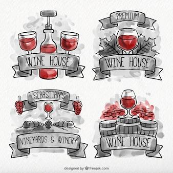 Confezione di etichette di vino acquerello con dettagli rossi