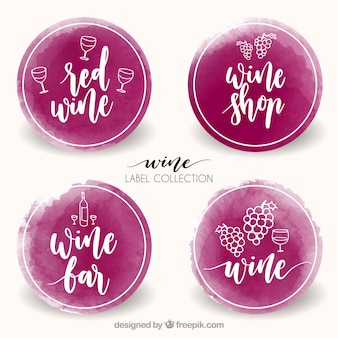 Pack watercolor wine stickers