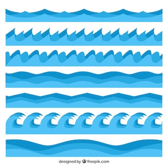 Pack of waves in different styles