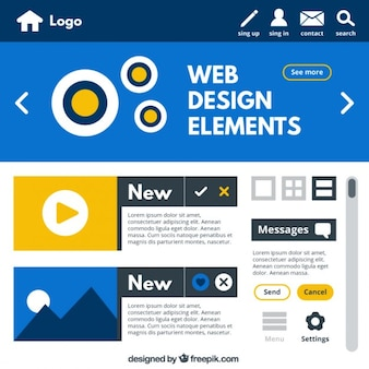 Pack of web elements in flat design