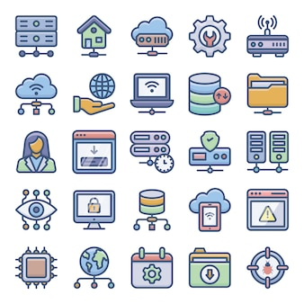 Pack of web hosting icons
