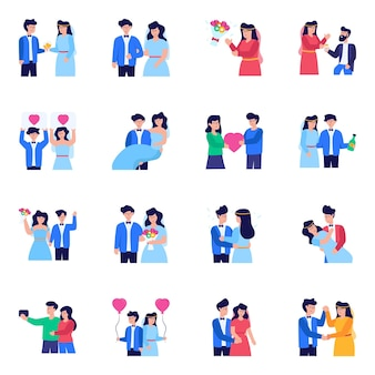 Pack of wedding flat icons