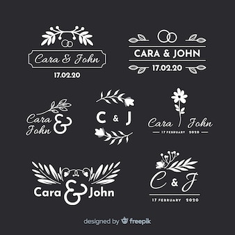 Pack of wedding florist logos