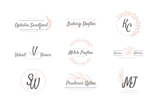 Pack of wedding logos