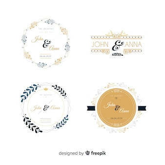Pack of wedding monogram logos