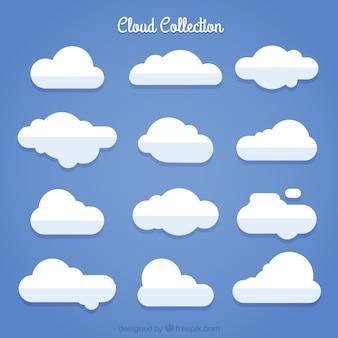 Confezione da nuvole bianche in design piatto