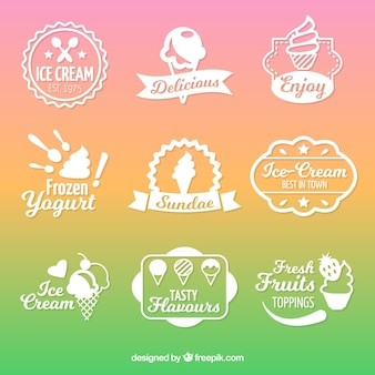 Pack of white stickers with flat ice creams
