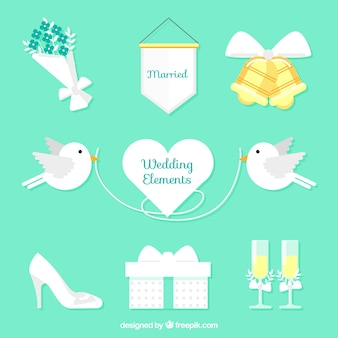 Pack of white wedding elements with color details