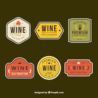 Pack of wine retro stickers