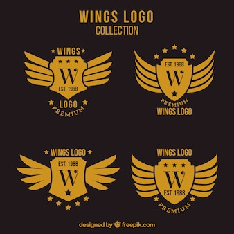 Pack of wings logos with shield