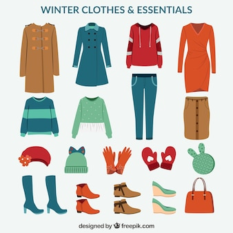 Pack of winter clothes and essentials