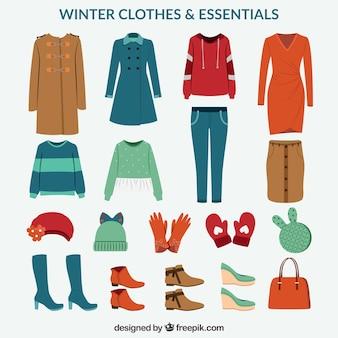 Confezione di vestiti invernali ed elementi essenziali