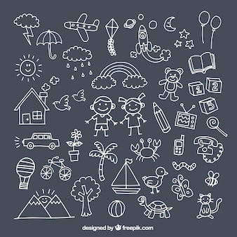Pack with cute drawings for children's day Premium Vector