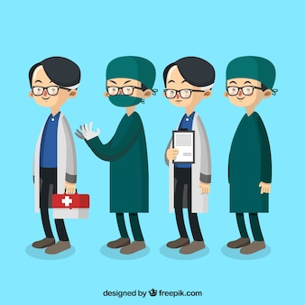 Pack with doctor and surgeon with glasses