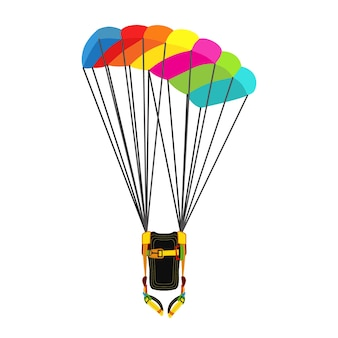 Pack with opened parachute